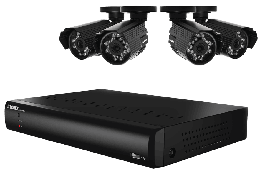 4 channel security surveillance system with indoor and outdoor cameras
