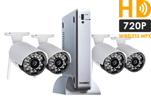 720p Wireless Camera System with 4 Outdoor Wireless Cameras