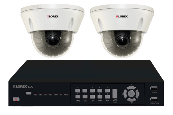 DVR for security system with 2 indoor dome cameras