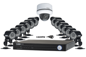 Surveillance DVR system with outdoor security cameras, PTZ camera ECO2 16 channel series