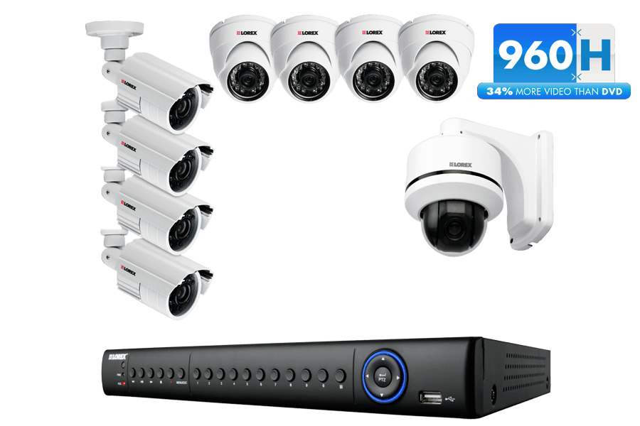 16ch ECO3 960H DVR w/ 2TB, 1 x High Performance, High Speed Pan Tilt Zoom Camera, 8 x Super+ Resolution 700TVL 960H Cameras