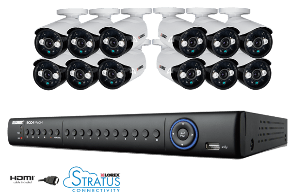 Lorex 16 Channel Eco4 Stratus 960H DVR Security System with 2TB HDD and 12 700TVL Cameras - LH1561220B