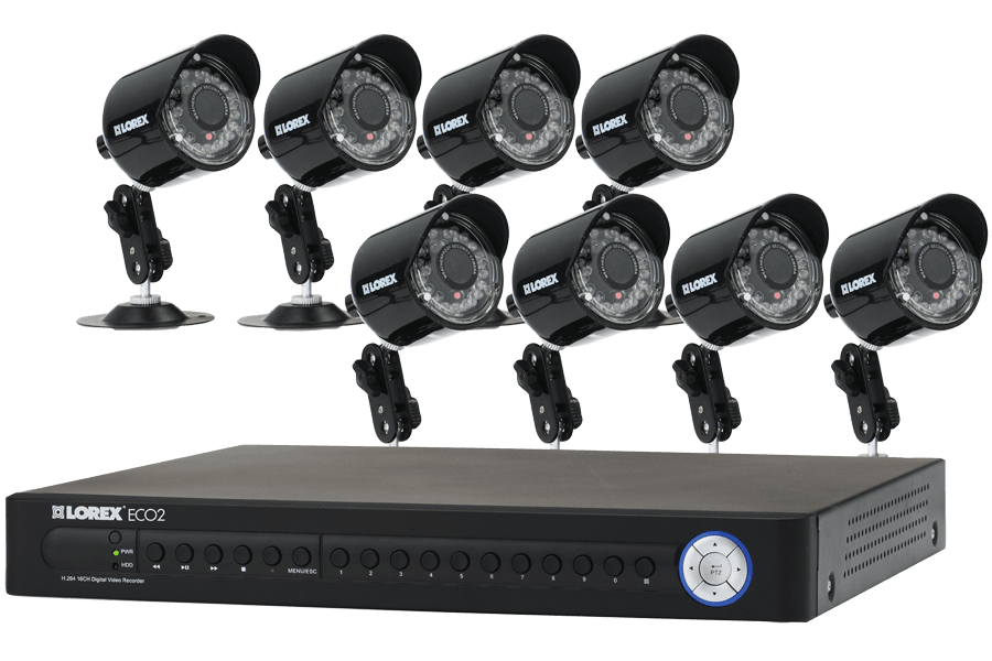 Lorex ECO2 16 Channel Security Camera System with 8 Super Resolution Cameras