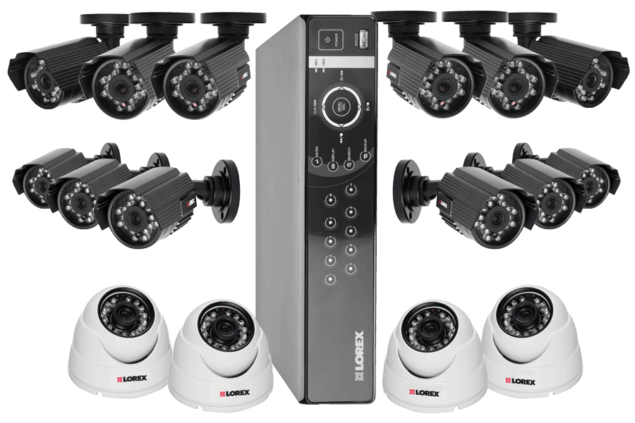 Security DVR system with 16 outdoor security cameras with iPhone, iPad, android app.