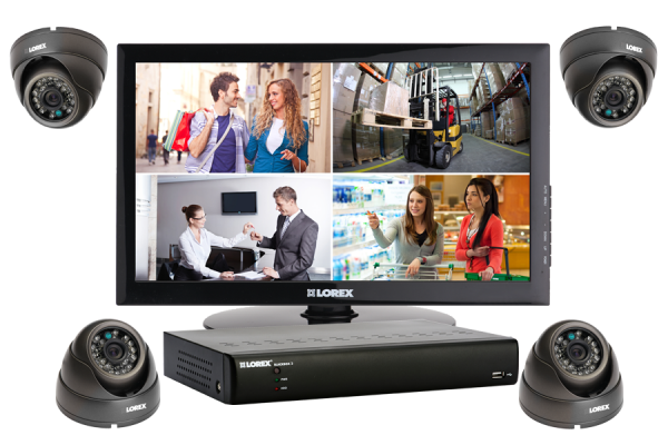Security DVR system with monitor, 4 outdoor cameras