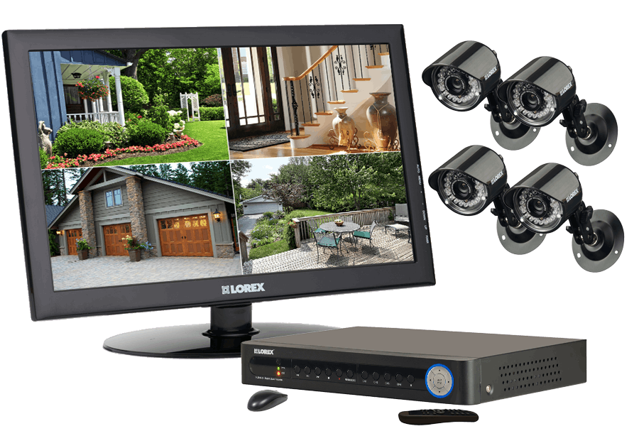 Home security camera system with monitor