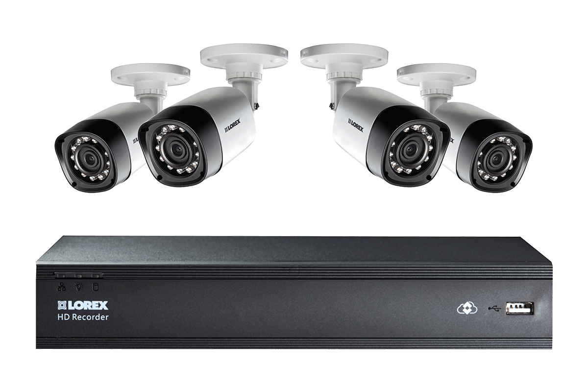 4 Camera Security System with 500GB Digital Video Recorder and 720p Resolution