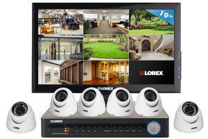Security camera system with 2 motion detection cameras and 4 house security cameras