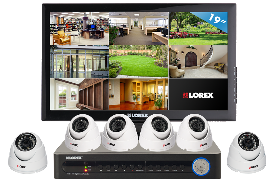 Security camera system with 2 outdoor cameras and 4 house security cameras