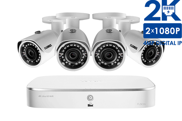 2k Ip Security Camera System With 8 Channel Nvr And 4 X 4mp 2k Hd Outdoor 4mp Cameras Lorex