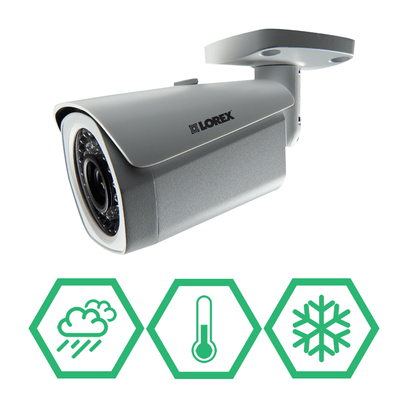 Digital IP security cameras with weatherproof & vandal resistant housings