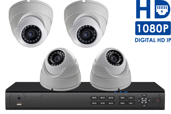 IP camera system with 4 HD 1080p security cameras