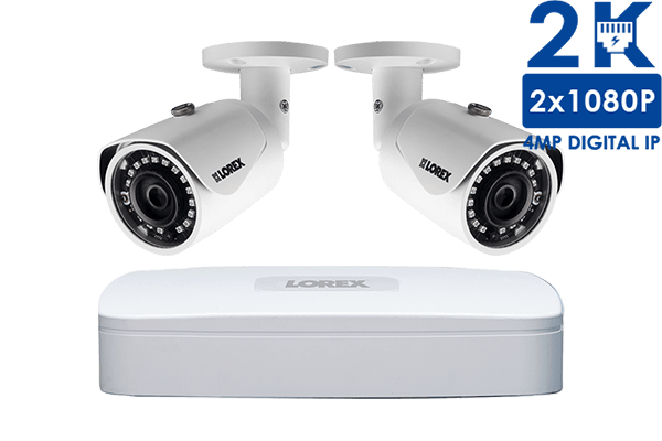 2K IP Security Camera System with 4 Channel NVR and 2 HD Outdoor 4MP Cameras