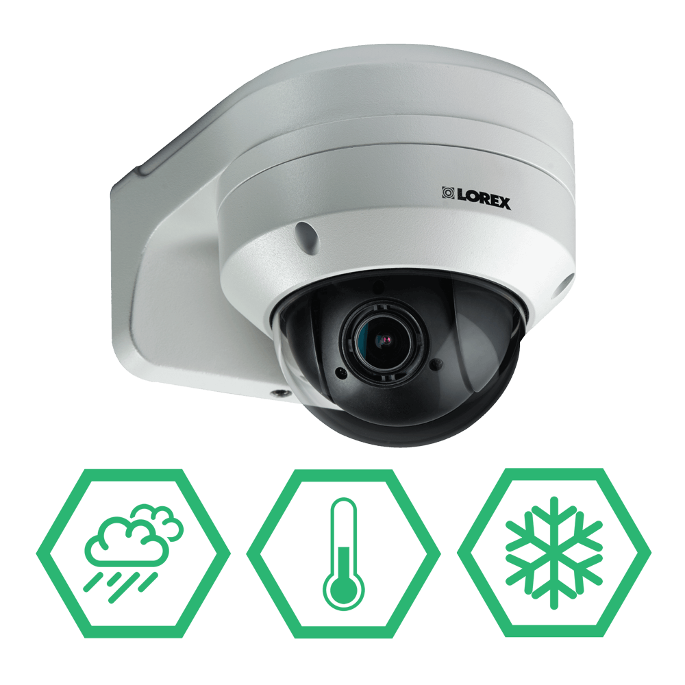 Weatherproof PTZ security camera with extreme temperature tolerance