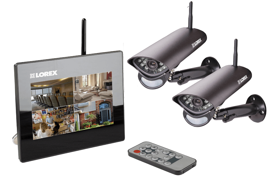 Wireless home camera system with 2 wireless cameras, 7 inch monitor