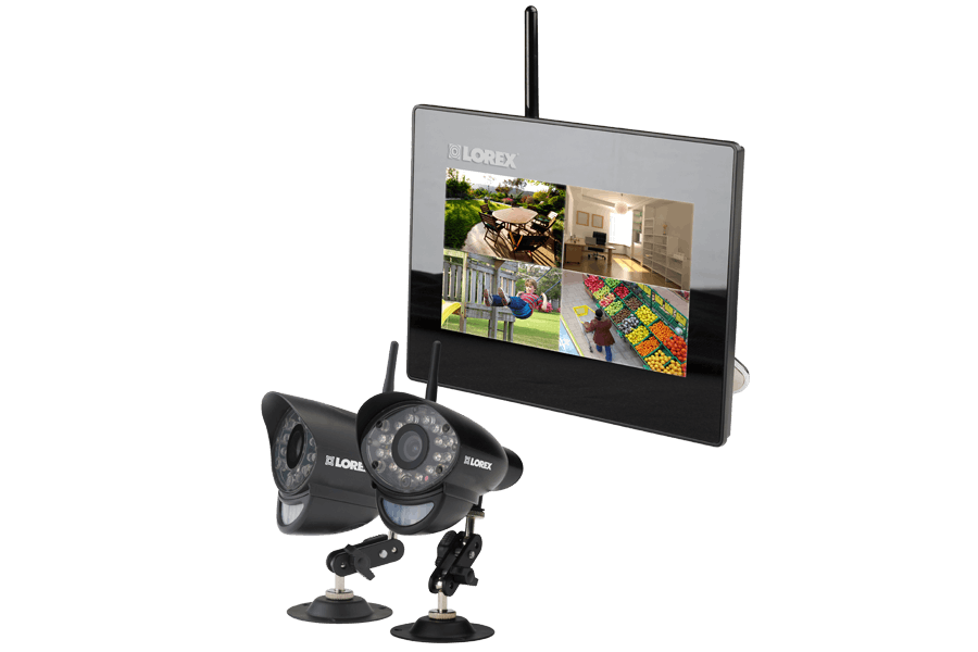Home surveillance system with 2 wireless cameras