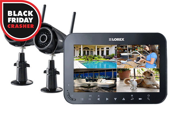 Wireless Video Surveillance System with 7 inch Monitor and 2 Cameras