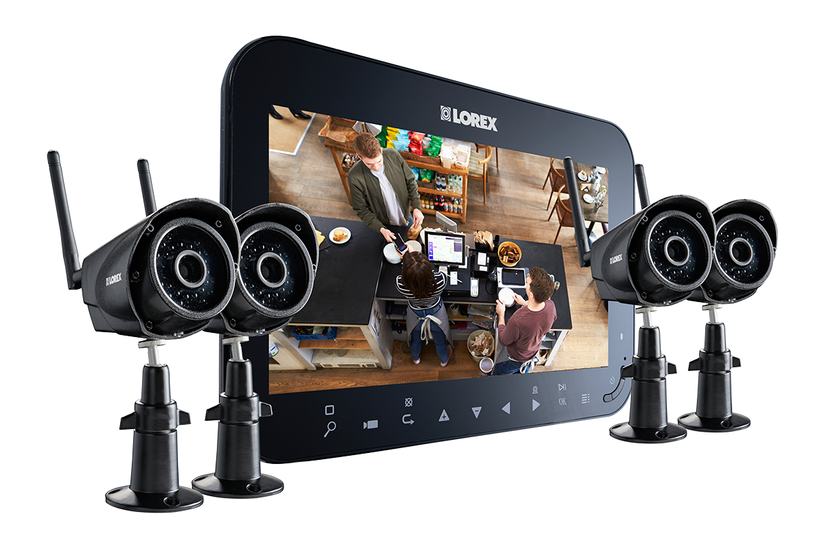 Home security camera system with 7inch monitor and 4 wireless cameras