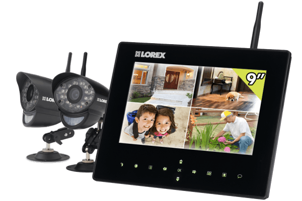 Home video security system with wireless cameras