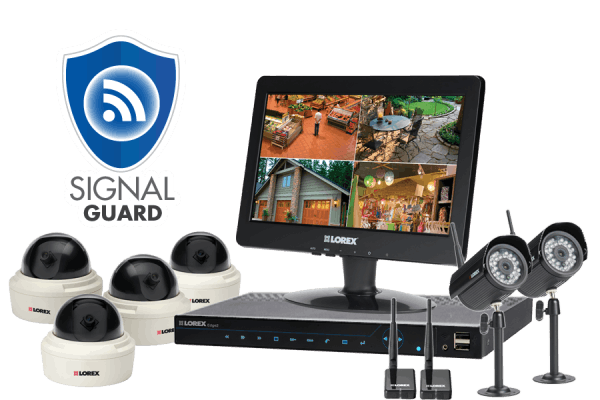 Security camera system with 4 security cameras and 2 wireless night cameras
