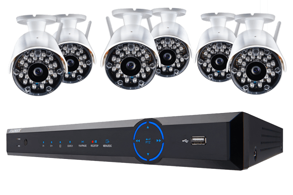 Wireless security system with 6 cameras