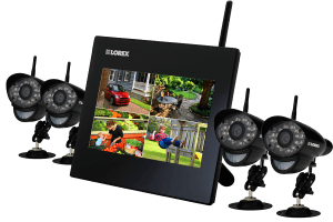 Wireless home security camera system - 4 outdoor cameras and monitor