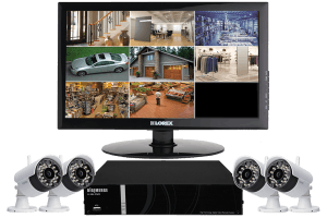 Wireless security camera system and 4 outdoor security cameras with monitor