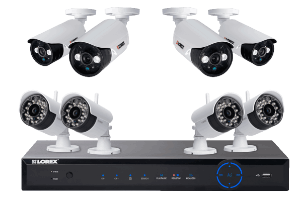 Wireless cameras for home security with 4 wireless night cameras and 4 wired cameras