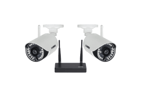 HD 720p indoor/outdoor wireless security cameras with receiver (2-pack)