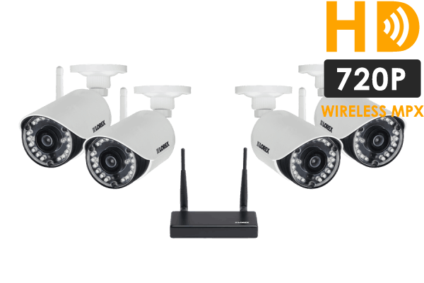 HD 720p indoor/outdoor wireless security cameras with receiver (4 ...