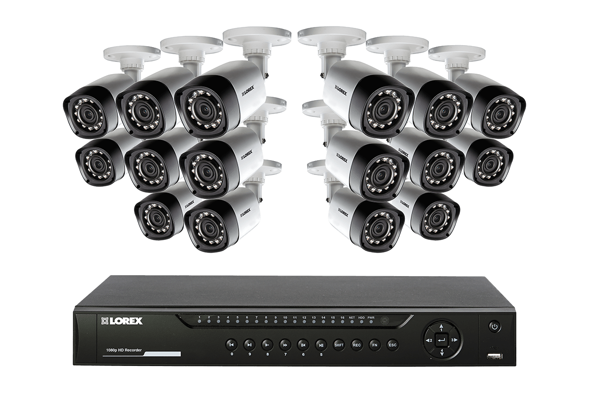 HD 720p security system featuring 16 high definition cameras with 130FT night vision
