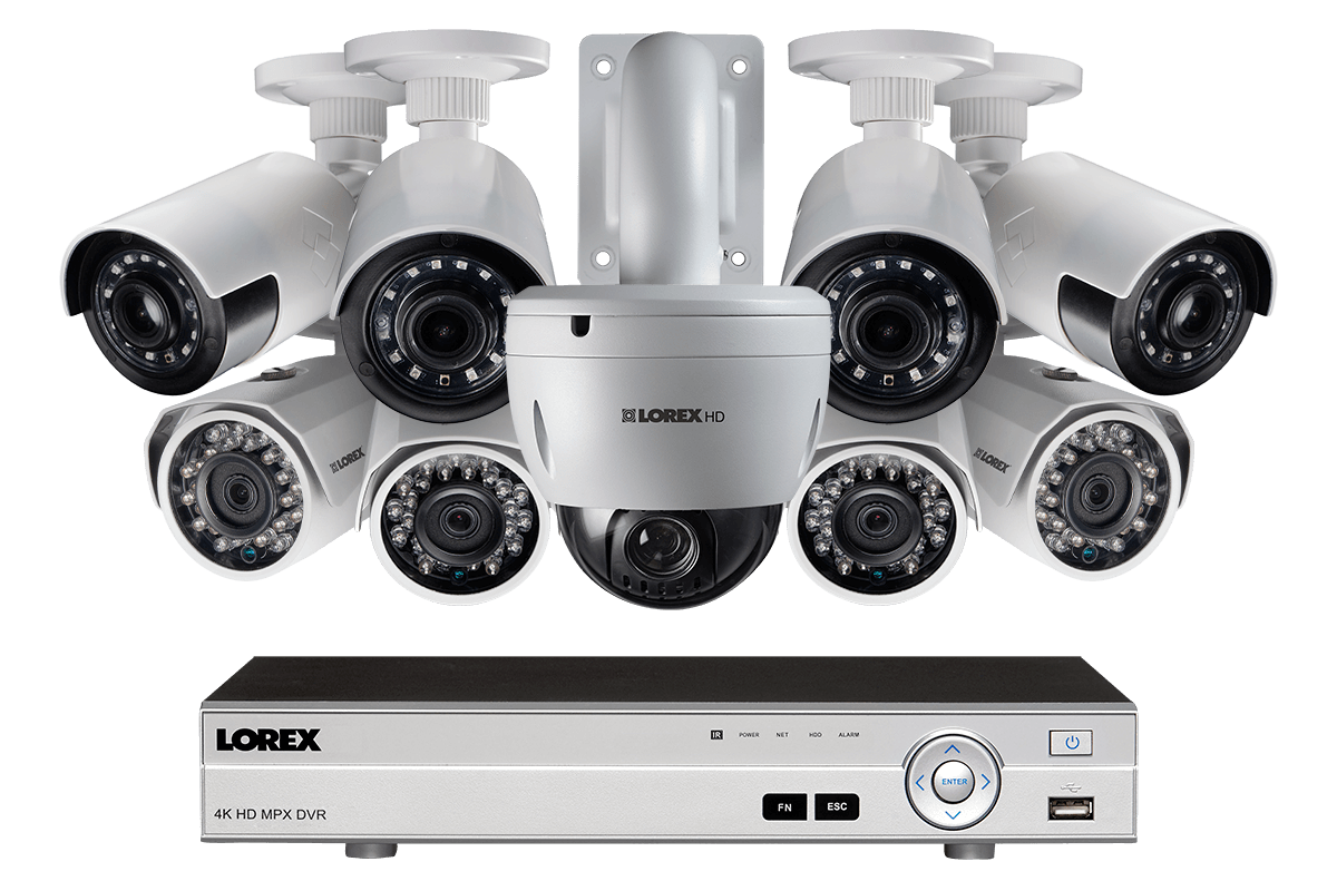 9 camera HD home security system featuring 4 ultra wide angle cameras and PTZ