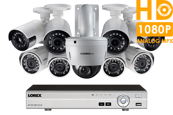 9 camera HD home security system featuring 4 ultra-wide angle cameras and PTZ