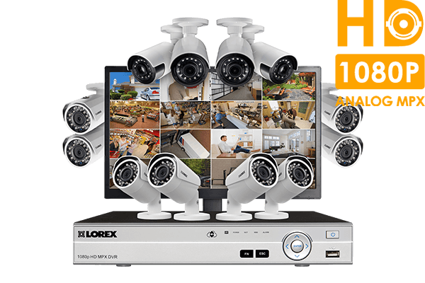 Twelve camera HD 1080p security system including 4 ultra wide angle security cameras plus LED monitor