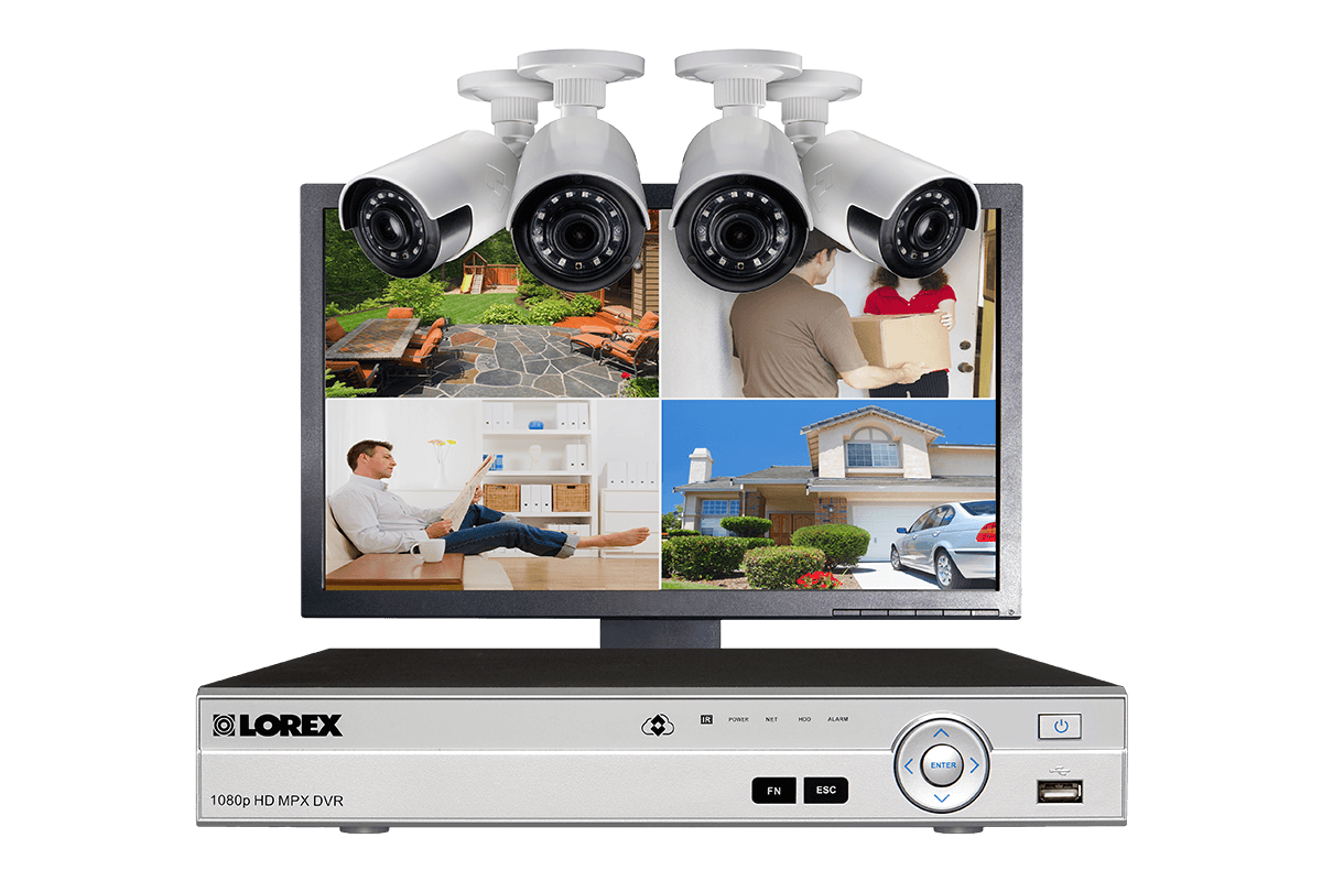 Home security system with 4 channel DVR 4 HD wide angle cameras and LED monitor