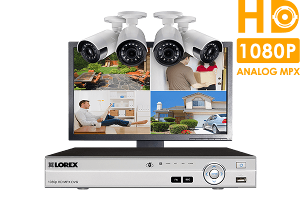 Home security system with 4-channel DVR,  4 HD wide angle cameras and LED monitor