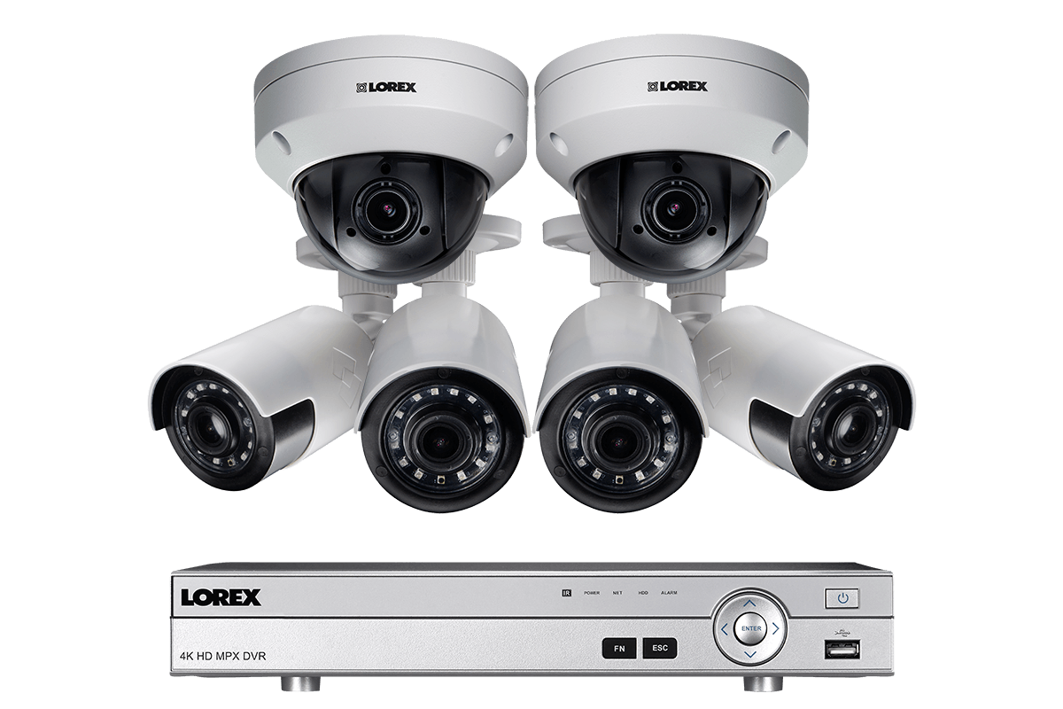 HD home security system featuring 4 ultra wide angle cameras and 2 PTZ cameras