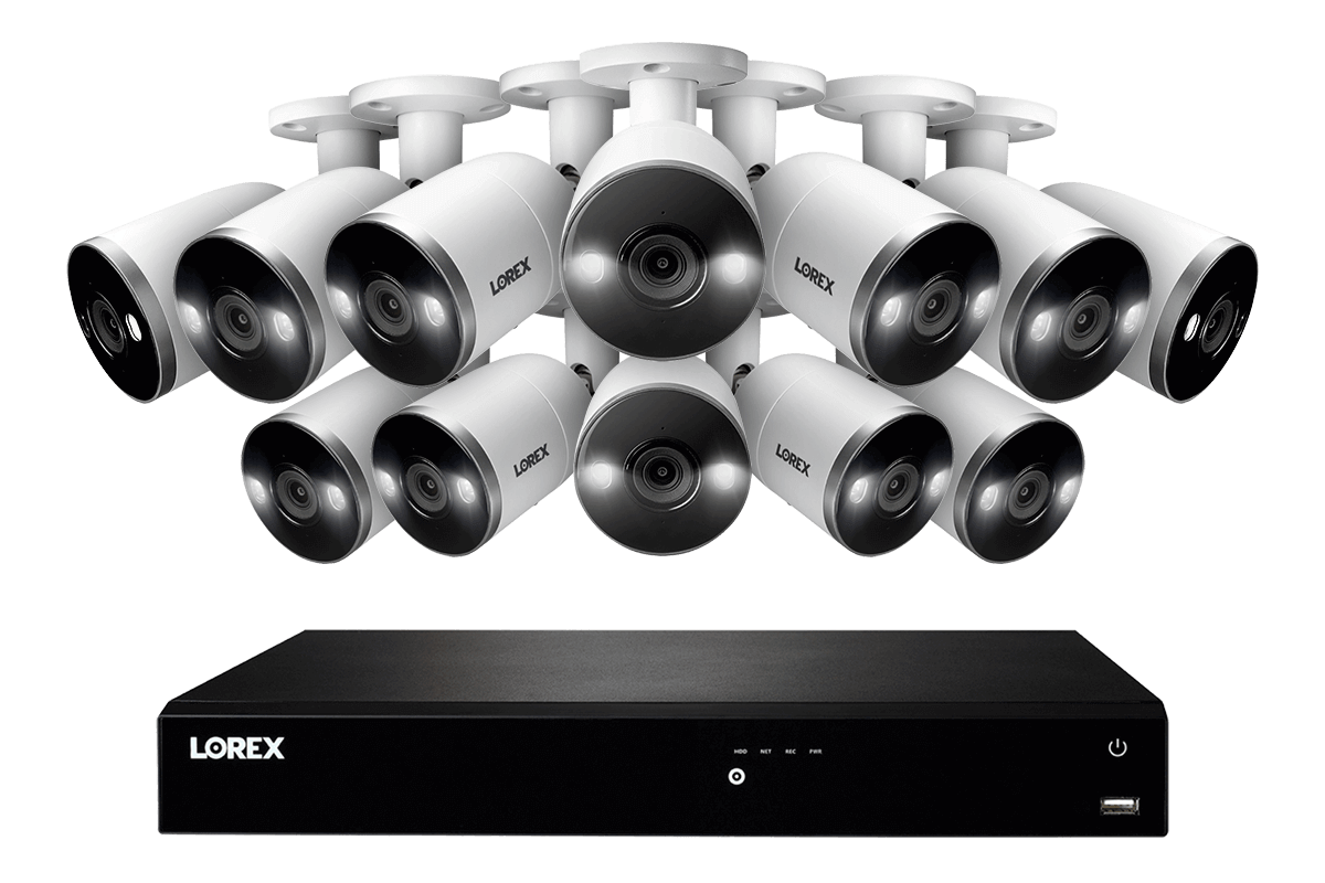 Lorex 16-Channel 4K Ultra HD Fusion NVR IP System with 12 Smart Deterrence Cameras