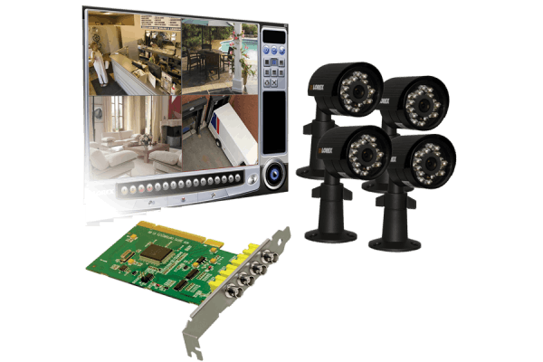 PC security camera system - 4 channel DVR card with 4 security cameras