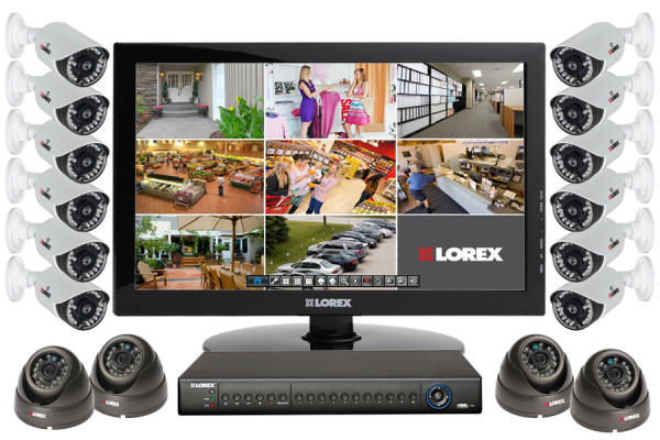 Security camera surveillance system with 16 outdoor cameras and touch monitor