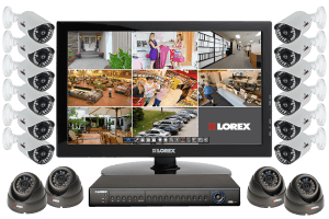 Security camera surveillance system with 16 outdoor cameras and monitor
