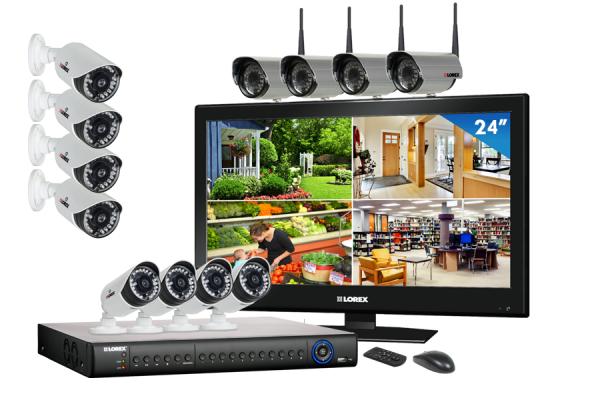 Camera security surveillance system with 4 outside wireless cameras and 6 security cameras