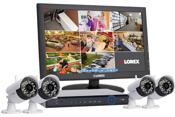 Wireless security system with 4 wireless night cameras touch DVR monitor
