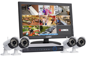 Wireless security system with 4 wireless night cameras and 24
