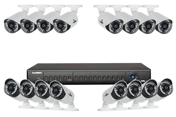 Security DVR system with 16 outdoor security cameras with night vision