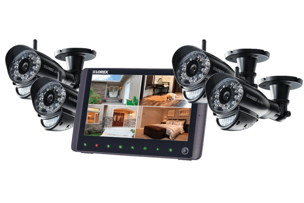 Home Monitoring System with 4 Wireless Cameras