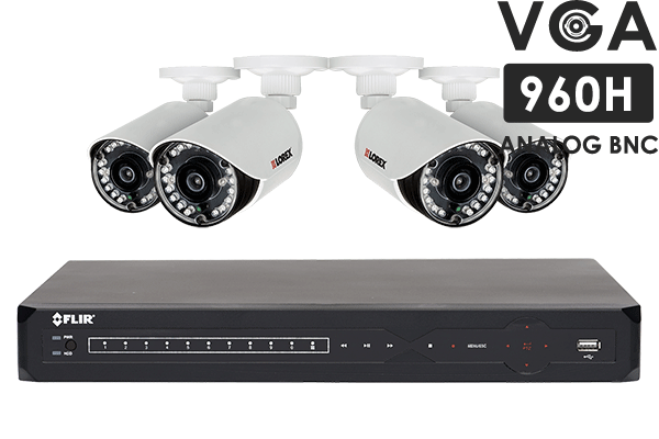 Security Surveillance System with 500GB hard drive and 4 outdoor cameras, 130FT night vision
