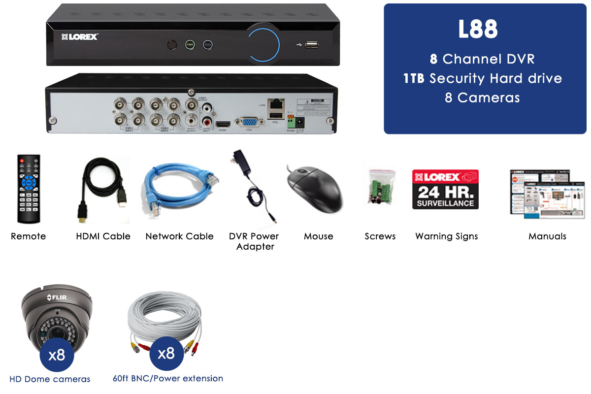 Security Surveillance System with 1TB hard drive and 8 outdoor cameras, 130FT night vision