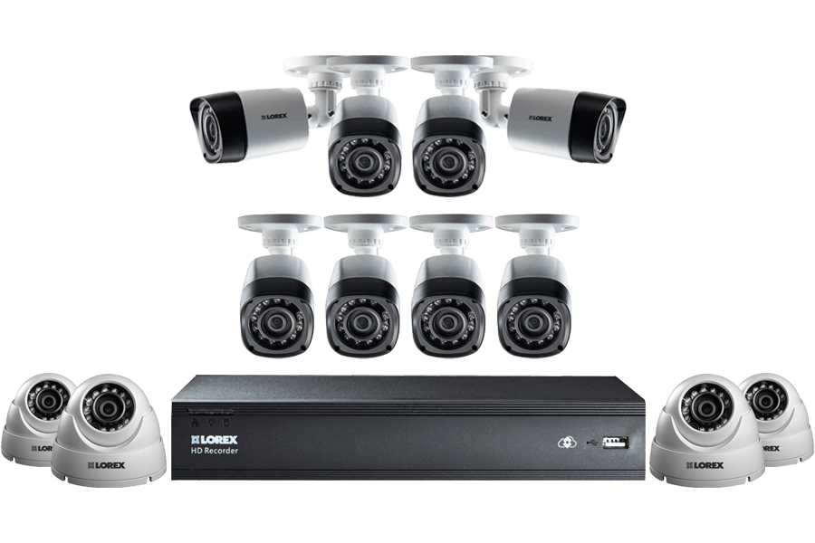 LHD1612 16 Channel Security Camera System with 12 Cameras and 1TB Hard Drive