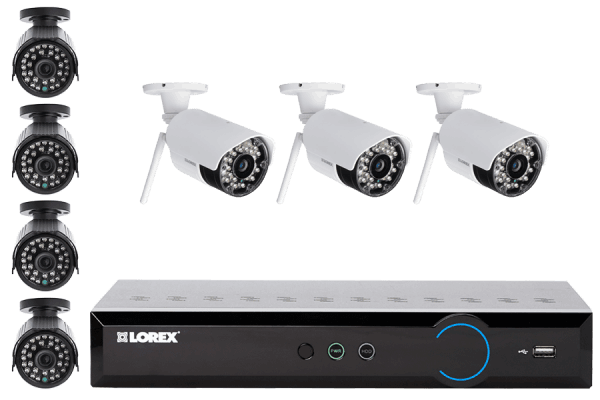 Flexible Security System with 4 Wired and 3 Wireless Cameras